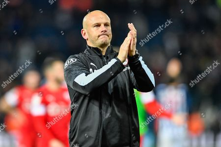 22nd October 2019, The Hawthorns, West Bromwich, England; Sky Bet Championship, West Bromwich Albion v Barnsley : Barnsley Caretaker Head Coach, Adam Murray applauds the travelling supporters after his side drew 2-2 with West Bromwich Albion Credit: Simon Whitehead/News Images