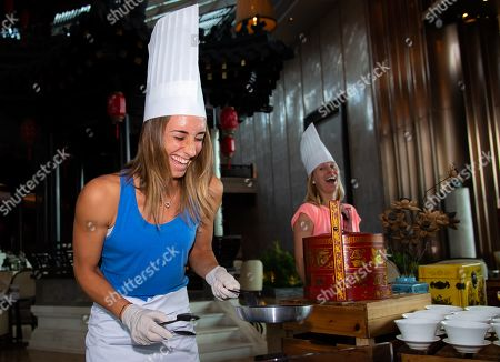 Petra Martic of Croatia prepares Dim Sum ahead of the Players Party of the 2019 WTA Elite Trophy tennis tournament