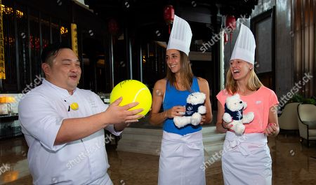 Stock Picture of Petra Martic of Croatia and Alison Riske of the United States prepare Dim Sum ahead of the Players Party of the 2019 WTA Elite Trophy tennis tournament