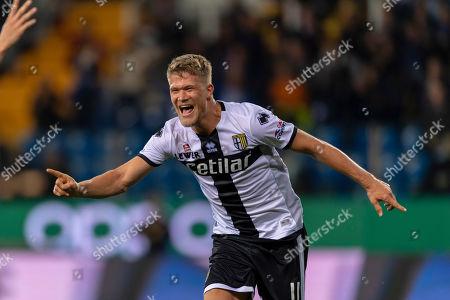 Andreas Evald Cornelius (Parma) celebrates after scoring his team's third goal