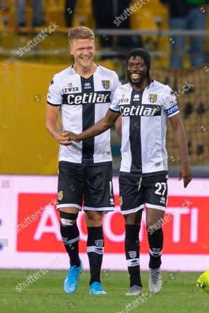 Andreas Evald Cornelius (Parma) Gervinho Gervais Lombe Yao Kouassi (Parma) celebrates after scoring his team's fourth goal