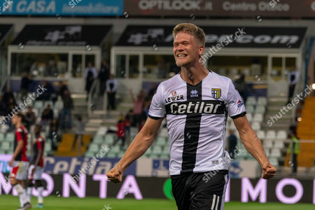 Andreas Evald Cornelius (Parma) celebrates after scoring his team's second goal