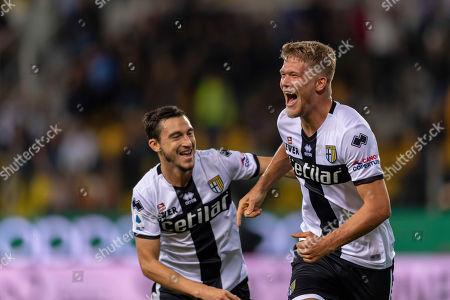 Andreas Evald Cornelius (Parma) Matteo Darmian (Parma) celebrates after scoring his team's third goal
