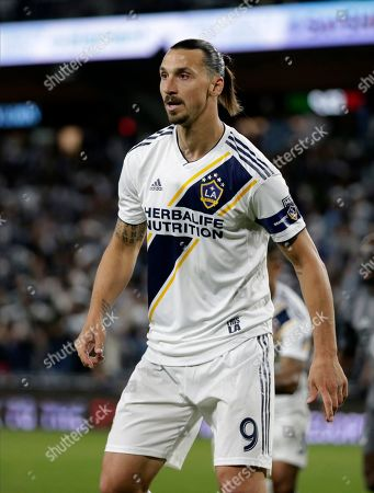 Stock Image of LA Galaxy mid fiedler Zlatan Ibrahimovic against the Minnesota United during the first half of an MLS first-round playoff soccer match in St. Paul, Minn