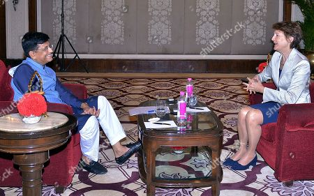 Stock Picture of Swiss federal councillor Simonetta Sommaruga (R) talks to Indian Union Minister for Railway Piyush Goel in New Delhi, India, 21 October 2019. Swiss Federal Councillor Simonetta Sommaruga is on her official visit to India and scheduled to meet the India railway minister and minister of Power to India.