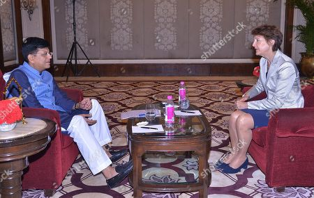Swiss federal councillor Simonetta Sommaruga (R) talks to Indian Union Minister for Railway Piyush Goel in New Delhi, India, 21 October 2019. Swiss Federal Councillor Simonetta Sommaruga is on her official visit to India and scheduled to meet the India railway minister and minister of Power to India.