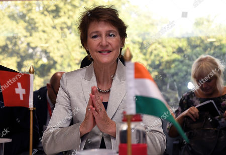 Swiss federal councillor Simonetta Sommaruga greets people in the Indian way in New Delhi, India, 21 October 2019. Swiss Federal Councillor Simonetta Sommaruga is on her official visit to India and scheduled to meet the India railway minister and minister of Power to India.