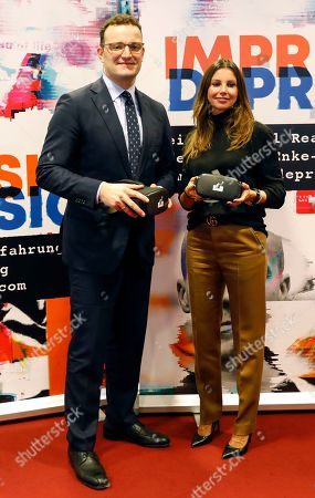 German Health Minister, Jens Spahn, and the President of the Robert Enke Foundation, Teresa Enke, pose with virtual reality goggles during the presentation of an awareness campaign on depression by the Robert-Enke Foundation, in Berlin, Germany, 21 October 2019. On the 10th anniversary of the death of the former goalkeeper of the German national squad, the Robert-Enke Foundation starts a nationwide information campaign on depression as a disease.