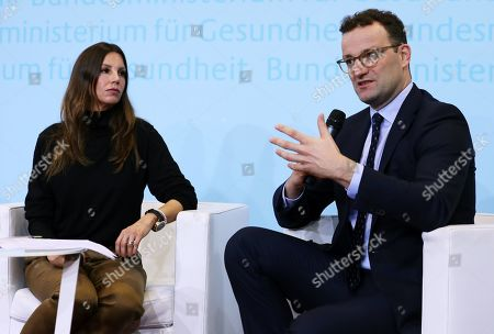 German Health Minister, Jens Spahn, speaks next to the President of the Robert Enke Foundation, Teresa Enke, during the presentation of an awareness campaign on depression by the Robert-Enke Foundation, in Berlin, Germany, 21 October 2019. On the 10th anniversary of the death of the former goalkeeper of the German national squad, the Robert-Enke Foundation starts a nationwide information campaign on depression as a disease.