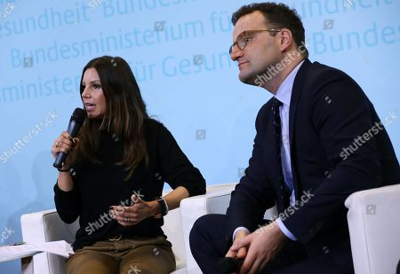 The President of the Robert Enke Foundation, Teresa Enke,  speaks next to German Health Minister, Jens Spahn, during the presentation of an awareness campaign on depression by the Robert-Enke Foundation, in Berlin, Germany, 21 October 2019. On the 10th anniversary of the death of the former goalkeeper of the German national squad, the Robert-Enke Foundation starts a nationwide information campaign on depression as a disease.