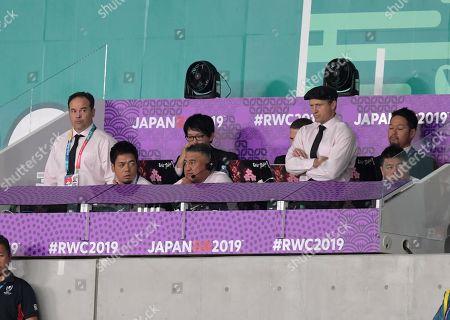Japan head coach Jamie Joseph, defense coah Scott Hansen and attack coach Tony Brown
