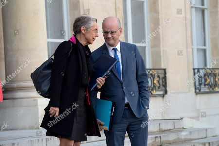 French Minister for the Ecological and Inclusive Transition Elisabeth Borne speaks with French Education and Youth Affairs Minister Jean-Michel Blanquer