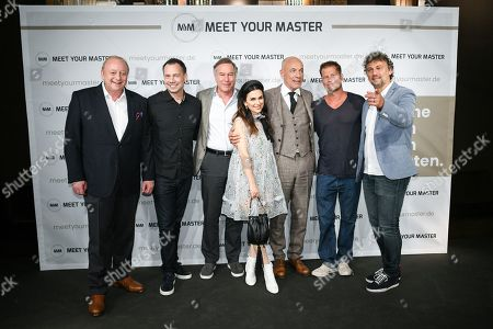 German chef Alfons Schuhbeck, author Sebastian Fitzek, director Nico Hofmann, host Viktoria Lauterbach, actor Heiner Lauterbach, actor/director Til Schweiger and opera singer Jonas Kaufmann attend a photocall for the new online education and entertainment platform 'Meet Your Master' in Munich, Germany, 21 October 2019.