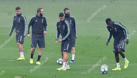 (L-R) Juventus' players Paulo Dybala, Gonzalo Higuain, Sami Khedira, Miralem Pjanic and Blaise Matuidi attend a training session at Juventus stadium in Turin, Italy, 21 October 2019. Juventus FC play Lokomotiv Moscow in their UEFA Champions League group D soccer match on 22 October.