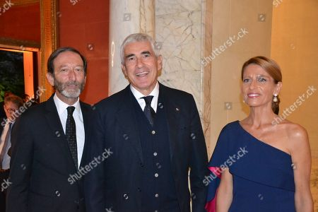 Stock Image of Viktor Elbling, Germany's ambassador to Italy with his wife Nuria and former minister Giovanni Tria