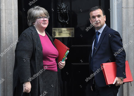 Alun Cairns and Therese Coffey during a cabinet meeting in Downing Street