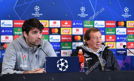 Lokomotiv Moscow's head coach Yuri Semin (R) and his defender Vedran Corluka attend a press conference in Turin, Italy, 21 October 2019. Lokomotiv Moscow play Juventus FC in their UEFA Champions League group D soccer match on 22 October.