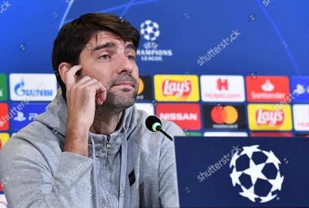 Lokomotiv Moscow's defender Vedran Corluka attends a press conference in Turin, Italy, 21 October 2019. Lokomotiv Moscow play Juventus FC in their UEFA Champions League group D soccer match on 22 October.
