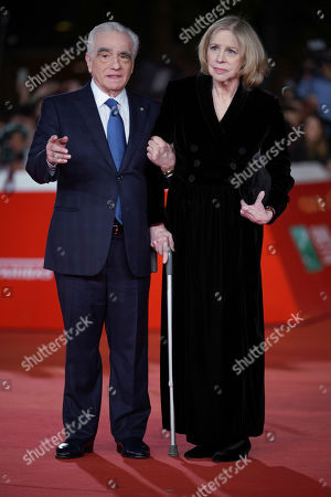 """Director Martin Scorsese, left, poses with his wife Helen Morris on the red carpet of the movie """"The Irishman"""", at the Rome Film Fest, in Rome"""