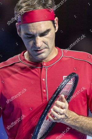 Switzerland's Roger Federer in action during his first round match against Germany's Peter Gojowczyk at the Swiss Indoors tennis tournament in Basel, Switzerland, 21 October 2019.