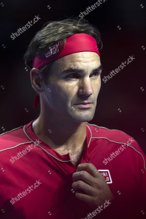 Switzerland's Roger Federer during his first round match against Germany's Peter Gojowczyk at the Swiss Indoors tennis tournament in Basel, Switzerland, 21 October 2019.