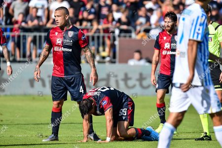 Radja Nainggolan and Giovanni Simeone of Cagliari Calcio,