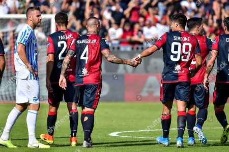 Radja Nainggolan and Giovanni Simeone of Cagliari Calcio