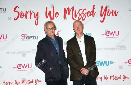 Ken Loach (L) with Irish Scottish screen writer Paul Laverty (R) attend the premiere of the film 'Sorry We Missed You' at Leicester Square in London, Britain, 21 October 2019.