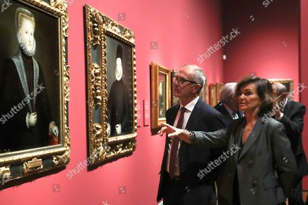Stock Photo of Spanish acting Minister of Culture and Sports Jose Guirao (L) and Spanish acting Deputy Prime Minister Carmen Calvo (R) attend the inauguration of an exhibition, titled 'A Tale of Two Women Painters: Sofonisba Anguissola and Lavinia Fontana' at the Museo del Prado in Madrid, Spain, 21 October 2019. The show dedicated to Italian artists Sofonisba Anguissola and Lavinia Fontana runs from 22 October 2019 to 02 February 2020.