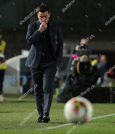 Fiorentina's coach Vincenzo Montella reacts during the Italian Serie A soccer match Brescia Calcio vs ACF Fiorentina at the Mario Rigamonti stadium in Brescia, Italy, 21 October 2019.