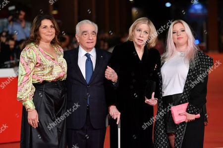 Martin Scorsese, his wife Helen Morris and his daughters Cathy Scorsese (L) and Francesca Scorsese (R)