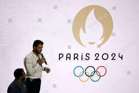 Tony Estanguet, President of the Olympic Comitee for Paris 2024 makes his speech during the unveiling ceremony of the new logo for the Paris 2024 Olympic Games at the Grand Rex in Paris, France, 21 October 2019.