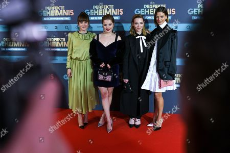 Stock Picture of Producer Lena Schoemann, and actresses Jella Haase, Karoline Herfurth and Jessica Schwarz pose on the red carpet before the premiere of 'Das perfekte Geheimnis' (lit.: The perfect secret) in Munich, Germany, 21 October 2019. The movie will be shown in German cinemas from 31 October 2019 on.