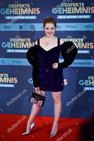 Jella Haase poses on the red carpet before the premiere of 'Das perfekte Geheimnis' (lit.: The perfect secret) in Munich, Germany, 21 October 2019. The movie will be shown in German cinemas from 31 October 2019 on.