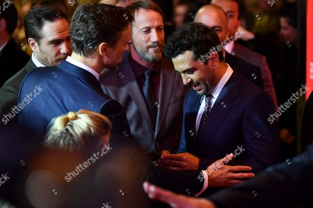 Florian David Fitz, Wotan Wilke Moehring and Elyas M'Barek on the red carpet before the premiere of 'Das perfekte Geheimnis' (lit.: The perfect secret) in Munich, Germany, 21 October 2019. The movie will be shown in German cinemas from 31 October 2019 on.