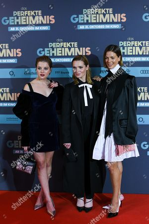 Jella Haase, Karoline Herfurth and Jessica Schwarz pose on the red carpet before the premiere of 'Das perfekte Geheimnis' (lit.: The perfect secret) in Munich, Germany, 21 October 2019. The movie will be shown in German cinemas from 31 October 2019 on.