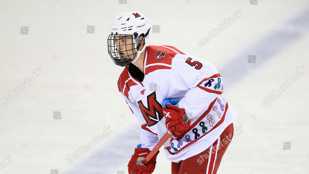 Miami RedHawks' Jack Clement against Ferris State during an NCAA hockey game on in Oxford, Ohio