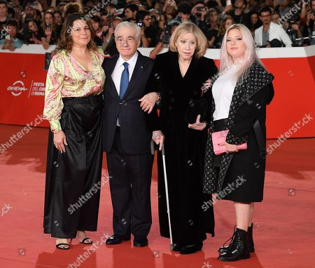 Stock Picture of Martin Scorsese with his wife Hellen Morris and daughters Cathy Scorsese and Francesca Scorsese