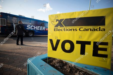 Canadian Conservative Party leader Andrew Scheer's bus arrives at his voting station on election day, in Regina, Saskatchewan, Canada, 21 October 2019. Canadians are voting in the country's 43rd federal election this day.