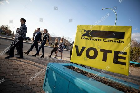 Canadian Conservative Party leader Andrew Scheer arrives with his family at his voting station on election day, in Regina, Saskatchewan, Canada, 21 October 2019. Canadians are voting in the country's 43rd federal election this day.
