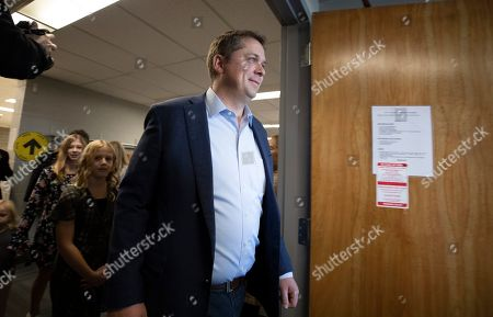 Canadian Conservative Party leader Andrew Scheer leaves a voting station after placing his ballot in Regina, Canada, 21 October 2019.