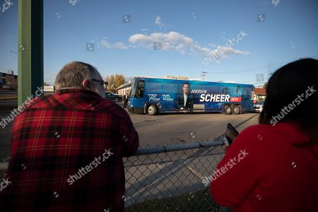 Canadian Conservative Party leader Andrew Scheer's  touring bus leaves a voting station in Regina, Canada, 21 October 2019.