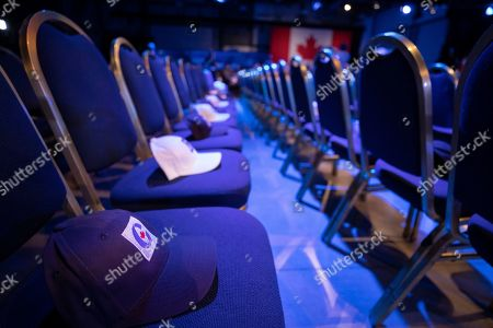 Hats sit on seats at Canadian Conservative Party leader Andrew Scheer's headquarters in Regina, Canada, 21 October 2019.