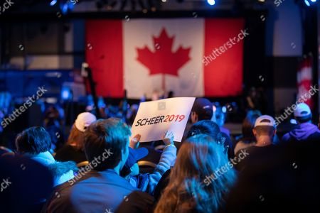 Supporters of Canadian Conservative Party leader Andrew Scheer, wait for election results at the party's headquarters in Regina, Canada, 21 October 2019.
