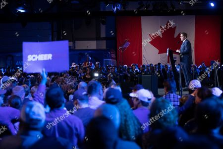 Stock Photo of Canadian Conservative Party leader Andrew Scheer (R) delivers his concession speach to supporters in Regina, Canada, 21 October 2019.  Liberal Party leader Justin Trudeau has retained his position as Canadian Prime Minister in the federal election but will be forced to form a minority.