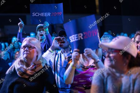 Supporters of Canadian Conservative Party leader Andrew Scheer's cheer the results of Conservative Party member Michael Kram defeating Liberal MP Ralph Goodale, in Regina, Canada, 21 October 2019.  Liberal Party leader Justin Trudeau has retained his position as Canadian Prime Minister in the federal election but will be forced to form a minority.
