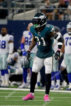 Philadelphia Eagles cornerback Jalen Mills (31) lines up against the Dallas Cowboys during an NFL football game in Arlington, Texas
