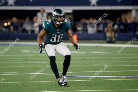 Stock Photo of Philadelphia Eagles' Orlando Scandrick drops into coverage against the Dallas Cowboys during an NFL football game in Arlington, Texas