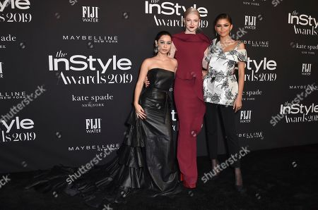 Alexa Demie, Hunter Schafer, Zendaya. Alexa Demie, from left, Hunter Schafer and Zendaya arrive at the 5th annual InStyle Awards, at the Getty Center in Los Angeles