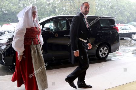 Norway's Crown Prince Haakon arrives at the Imperial Palace to attend the proclamation ceremony of Japan's Emperor Naruhito in Tokyo